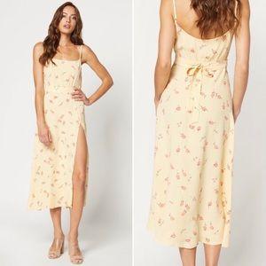 NWT Flynn Skye Hazel Yellow Floral Midi Dress M